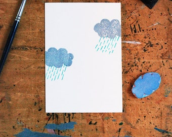 "Rain Clouds blank card | painted + printed by hand | handmade greeting card | A6 | 4.5""h X 6.25""w folded"