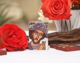St Mercurius Miniature icon with silver background  Military Saints Greek icons- catholic gift, religious miniatures, orthodox gift