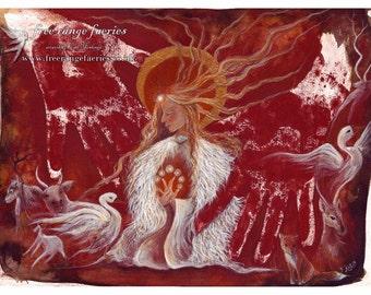 Brighid's Fire Small Print/Goddess/St. Bridget/Swan/Fox/Deer/Fawn/Cave art/Wolf/Cow/Sacred Animal/Swan Cloak/Spirit Animals