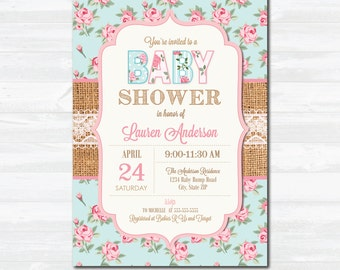 Shabby Chic Baby Shower Invitation, Girl Baby Shower Invitation, Vintage Baby Shower, Shabby Chic Invitation, DOWNLOAD & Edit At Home NOW!
