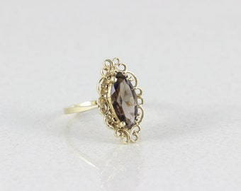 14k Yellow Gold Ring Smoky Quartz Ring Size 9