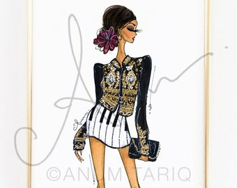 Fashion Illustration Print, Dolce & Gabbana, 8x10""