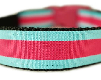 Preppy Dog Collar Pink & Turquoise Dog Collar