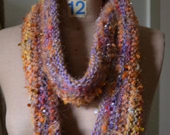 InfinityScarf HandKnitted  DesertOchreCowl WearableArt  RedEarth PurpleSky
