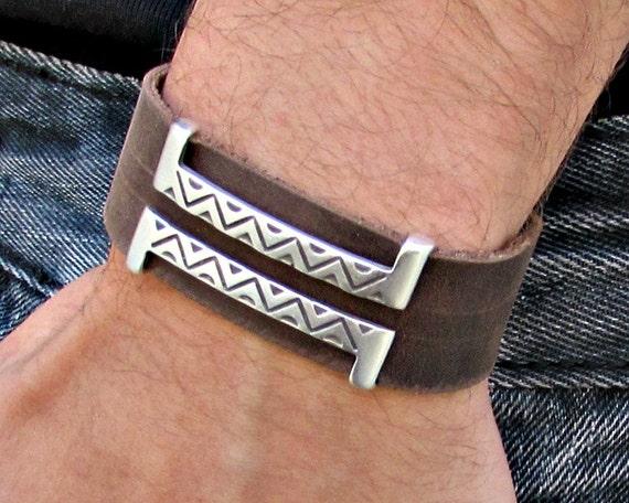 Mens Leather Bracelet Mens Geometric Bracelet Cuff Vegetable Tanned Leather Bracelet 20mm Customized On Your Wrist