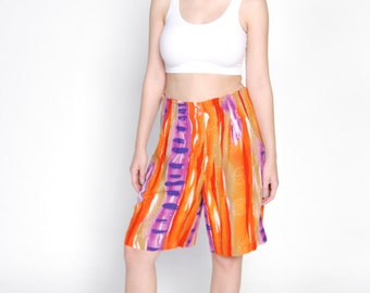 Bright Orange 80's Vintage High Waisted Abstract Printed Shorts