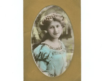 Vintage Edwardian Actress Singer Phyllis Dare RPPC Postcard by Davidson Bros. Unused Tinted Colour