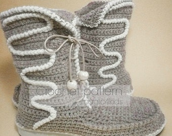 Crochet pattern: women outdoor boots on rubber soles,all female sizes,laced up crochet boots,shoemaking,women,girl,adult,street,footwear