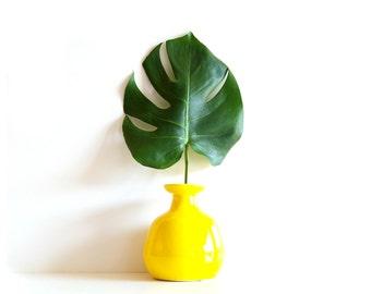 Vintage Bright Yellow Vase, Glazed Ceramic, Pottery