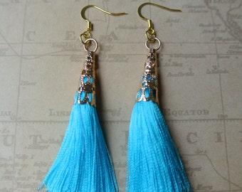Sky Blue Tassel Time Earrings