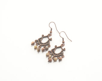 Beaded earrings, stone earrings, jasper earrings, natural stone earrings, semi precious stones, beaded jewelry, handmade earrings