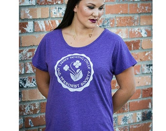 "Feminist TShirt: ""Ladies Sewing Circle and Terrorist Society"" shirt (Multiple colors) by Fourth Wave Feminist Apparel"