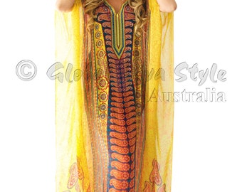 Kaftan dress, embellished Viscose Georgette paisley pattern relaxed fit gorgeous kaftan for beach or smart casual wear