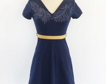 Wowen dress - cotton dress - comfortable - short sleeves - jersey - belt - Praline with pockets - navy/dots/ocher  -20% off!