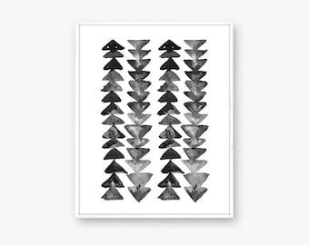 "Arrow art print, black and white wall art, minimal art print, boho art, geometric wall art, art print, 8x10"", black and white nursery decor"