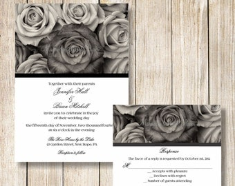 Rose Wedding Invitations, Black And White Roses Wedding Invite, Elegant  Modern Wedding Invitation,