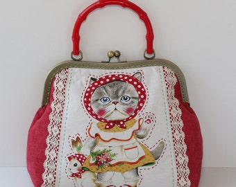 the cat lover metal frame bag shoulder bag cotton fabric daily handbag kiss lock