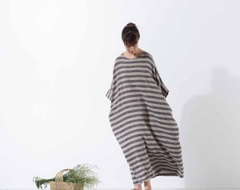 713---Striped Linen Tunic Dress, -Women's Linen Cocoon Dress, Plus Size, Maternity, Womens Linen Galabia, One size fits most.