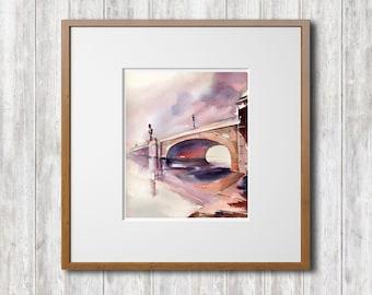 ORIGINAL Watercolor Painting, Bridge Painting, Cityscape Painting, Architecture Painting