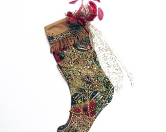 Spider Web Christmas stocking, a custom handmade one-of-a-kind holiday decoration