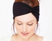Black Turban Headband - Women Turban Headband Black Headwrap Black Headband Twisted Headband Women Black Turban Headband Women Headband