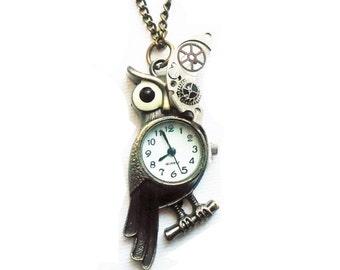 Steampunk Owl Pocket Watch Necklace, Cybrog, Steampunk Jewelry