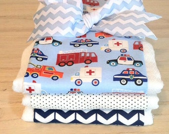 Emergency Vehicles Burp Cloth Set - Baby Shower Gift