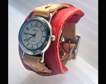 handmade leather wrist watch inspired by Miss Ana 3 of 6