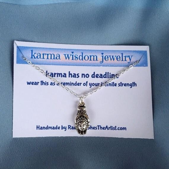 Silver Buddha Necklace Karma Wisdom Jewelry With Quote karma has no deadline 925 Silver Necklace Buddha In Palm Personalized Gifts