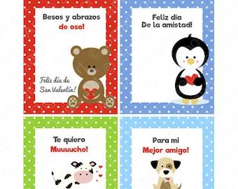 Etiquetas - Tarjetitas de San Valentín para imprimir. Feliz día de la amistad y del amor.