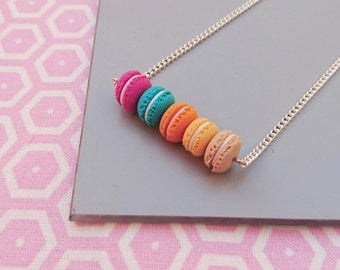 Greedy necklace 5 macaroons, mini pastries, limited edition, miniature fimo