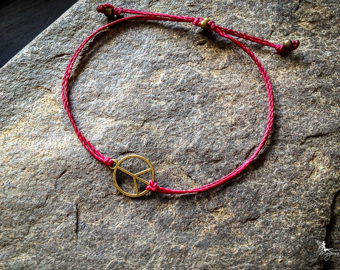 Red string bracelet Peace yoga meditation crimson thread hippie boho jewelry by Creations Mariposa
