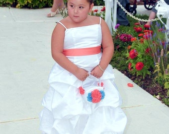 Custom Flower Girl Basket Choose Your Colors Flower Girl Basket Ivory or White Wedding Basket Silk or Fabric Flowers Ceremony Accessories