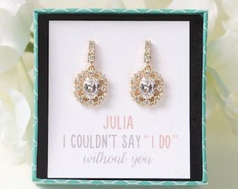 E343-G Bridesmaids Earrings, Wedding drop Earrings, Personalized Bridesmaids Gift, Gold Earrings For Bridesmaids, Gold Drop Earrings