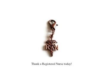 Nurse Pride Zipper Pull Charm; RN Caduceus, Registered Nurse Grad Gift, Clip On Bag Boot or Purse Charm, Nurse Key Chain, Medical Gift Idea