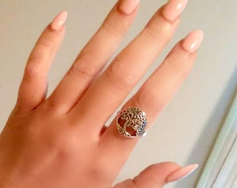 Tree Of Life Ring~ Sterling Silver Ring~  Size 6 7 8 9 Gift Boxed~Guaranteed