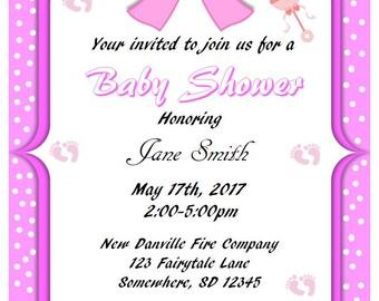 Printable Pink w/Polka Dots Baby Shower Invitations