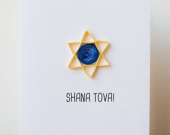 Rosh Hashanah Card - Jewish New Year Card - Shana Tova Card -  Rosh Hashanah Greeting Card - Star of David Card - Rosh Hashana Card