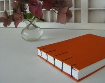 Coptic bound write book A6-Orange linen note book-diary-linen cover-hand-bound note book-landscape model