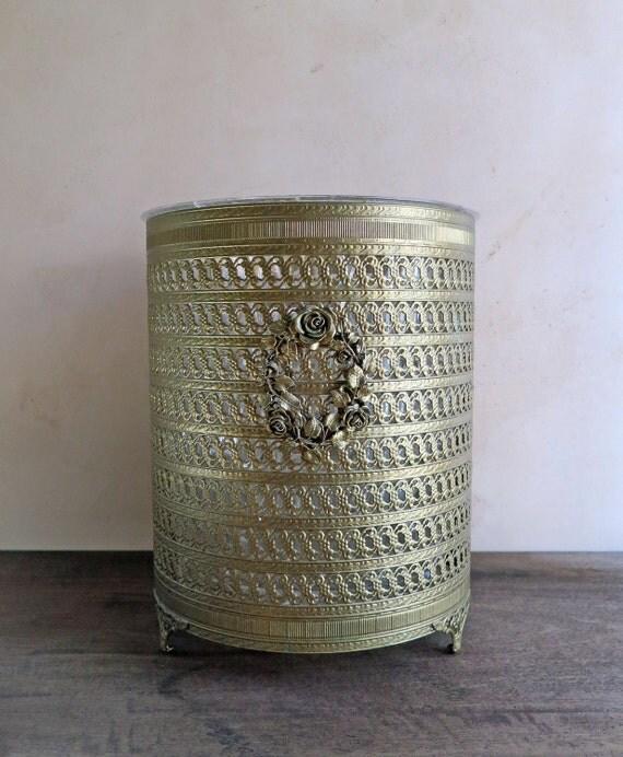 Gold filigree wastebasket french ormolu trash basket vanity for Gold bathroom bin