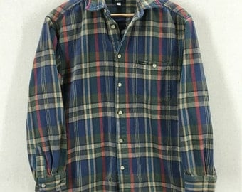 Vintage Guess Checkered Plaid Cotton Button Down Shirt Sz Small USA