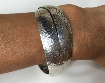 PAIR of Sterling Silver Bangles - 13.08mm Thick Interlocking Handcrafted Set of (2) Hammered Bangles