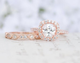Rose Gold Wedding Set - Art Deco Ring - Engagement Ring - Wedding Ring - Cushion Cut Ring - Halo Ring - Sterling Silver - Vintage Inspired