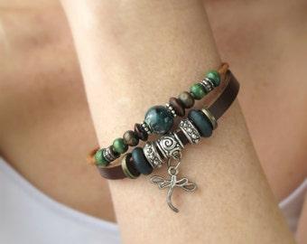 Beaded Layered Bracelet-Leather Jewelry-Boho Beaded Bracelet-Women's Gift-Gift for Her-Beaded Bracelets for Women-Bohemian Leather Bracelet