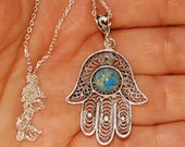 Fatima's Hand Necklace, Hamsa, Evil Eye Necklace, Silver Turquoise Hamsa, Turquoiseprotection, Mothers Day, Gift for Her, Christmas Gift