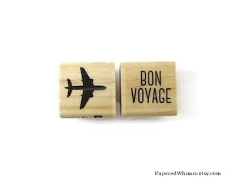 Bon Voyage Rubber Stamp Set | Airplane Stamp | Stationery Stamp | Travel Stamp | Plane Rubber Stamp | Mini Rubber Stamp Set | Tourist Stamp