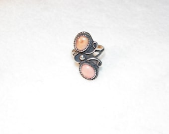 Sterling Silver Natural Undyed Red Coral Ring