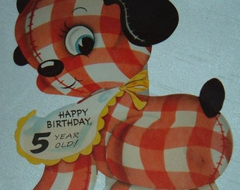 Vintage Birthday Card Large DIe Cut Puppy for 5 Year Old Red and White Check