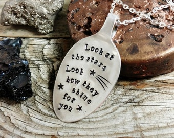 Coldplay Necklace, Hand Stamped Silver Spoon Pendant, Coldplay Yellow, Look at the stars, Look how they shine for you