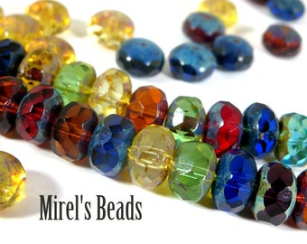 14 pcs Mixed Color Picasso Czech Glass Beads, 9x6mm Faceted Multi Color Luster Rondelle, Puffy Donut Beads